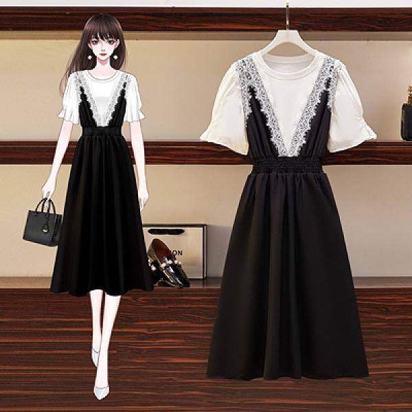 大碼洋裝 短袖T恤韓版寬松顯瘦兩件套連身裙83013F044BZ韓衣裳