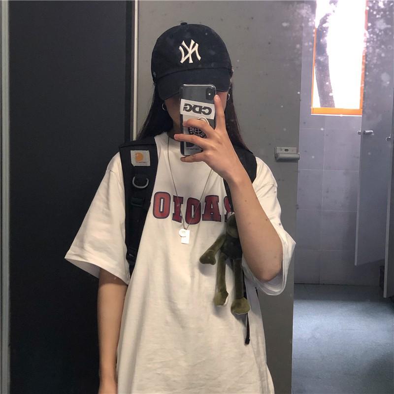 韓國短袖T恤 字母印花 復古 簡約 百搭打底衫白色上衣 20AW 五分袖 寬鬆 長版T恤 學生T恤
