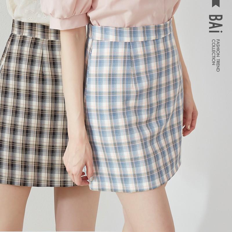 BAI e-shop 撞色格紋拉鍊褲裙M-L號-【310376】