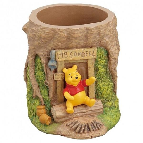 小禮堂 迪士尼 小熊維尼 造型陶瓷筆筒 圓形收納筒 刷具筒 文具盒 (棕 樹幹) 4945119-09170