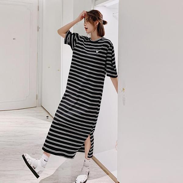 胖妹妹大碼洋裝長裙~長款大碼黑白條紋繡章短袖連身裙DC109衣時尚
