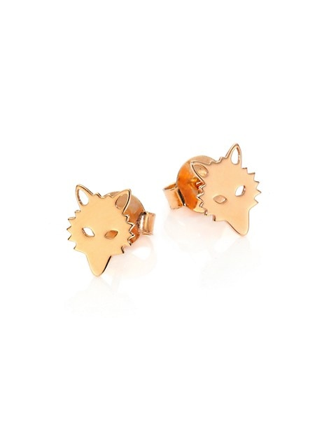 Wolf 18K Rose Gold Stud Earrings