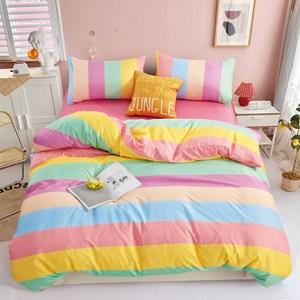 BUTTERFLY-柔絲絨枕套床包三件組-彩虹條紋(雙人)