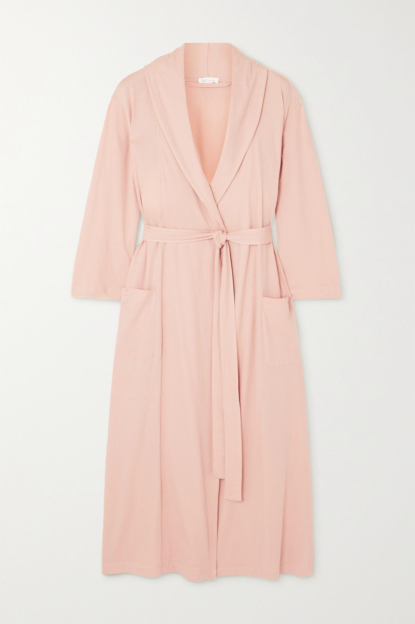 SKIN - + Net Sustain Carina Organic Pima Cotton-jersey Robe - Pink - 1
