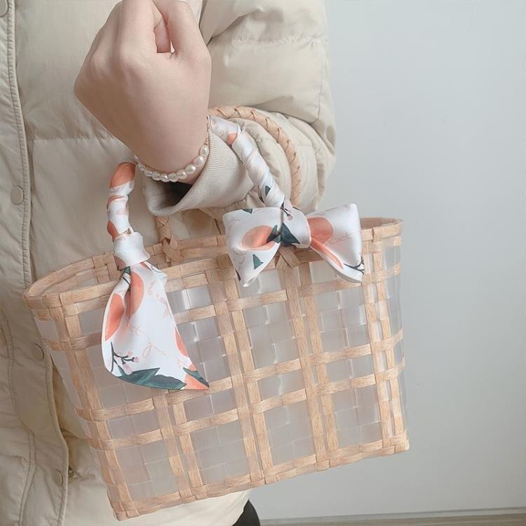 韓國ins度假旅游沙灘包透明編織游泳收納包大容量手提袋菜籃子潮 四季小屋