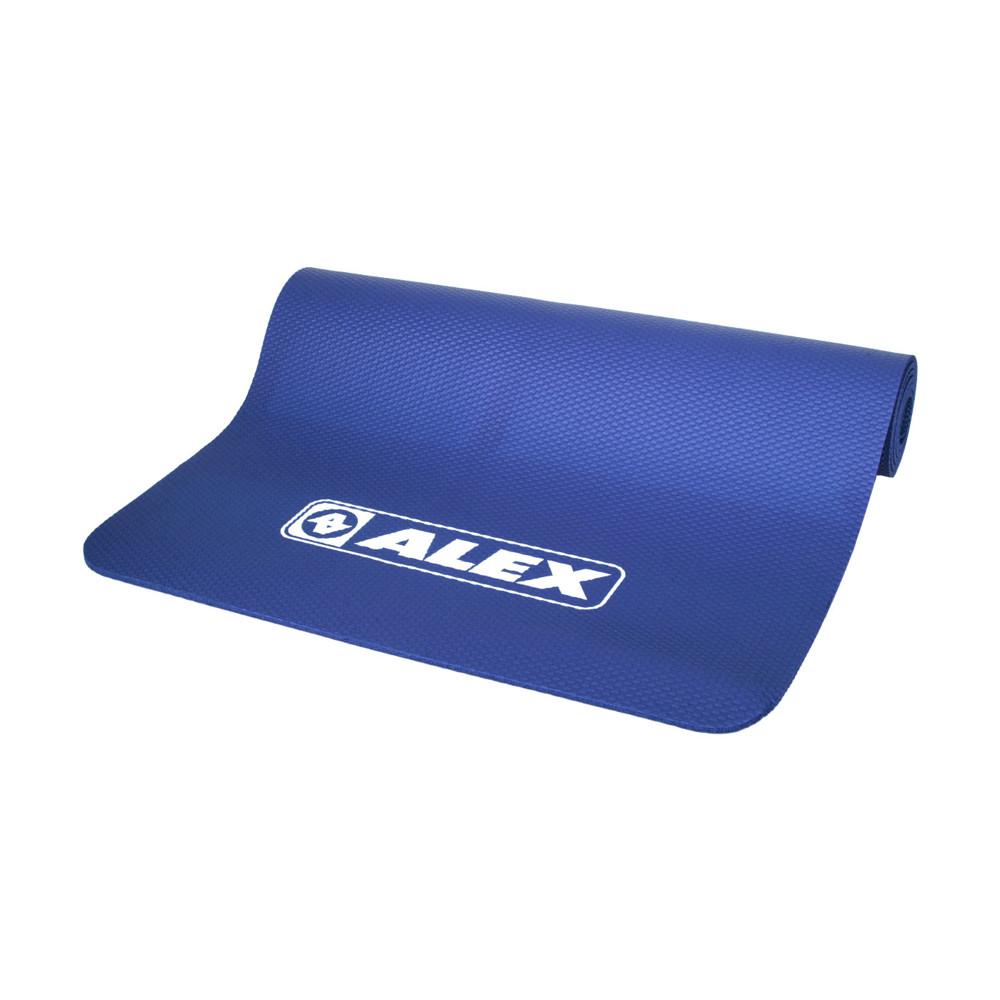 alex 專業瑜珈墊-台灣製 有氧 塑身 地墊 止滑墊 附收納袋 sgs認證 深藍白