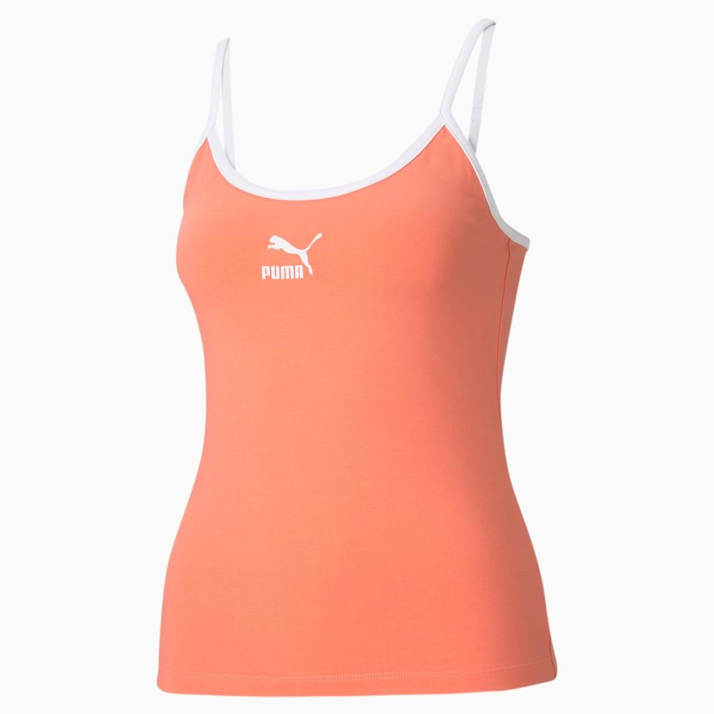 PUMA Classics 女裝 背心 細肩 緊身 寬領 休閒 訓練 健身 印花 粉 歐規【運動世界】59957624