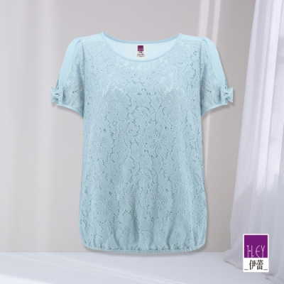 ILEY伊蕾 甜美繩股蕾絲拼接雪紡造型上衣(淺藍)1212031805