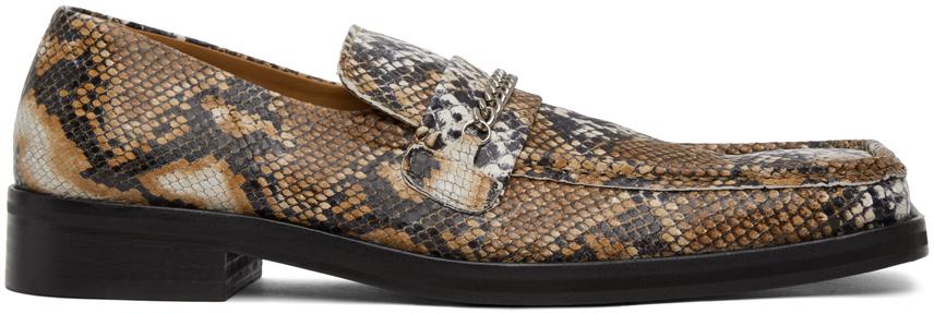 Martine Rose 棕色蛇纹乐福鞋