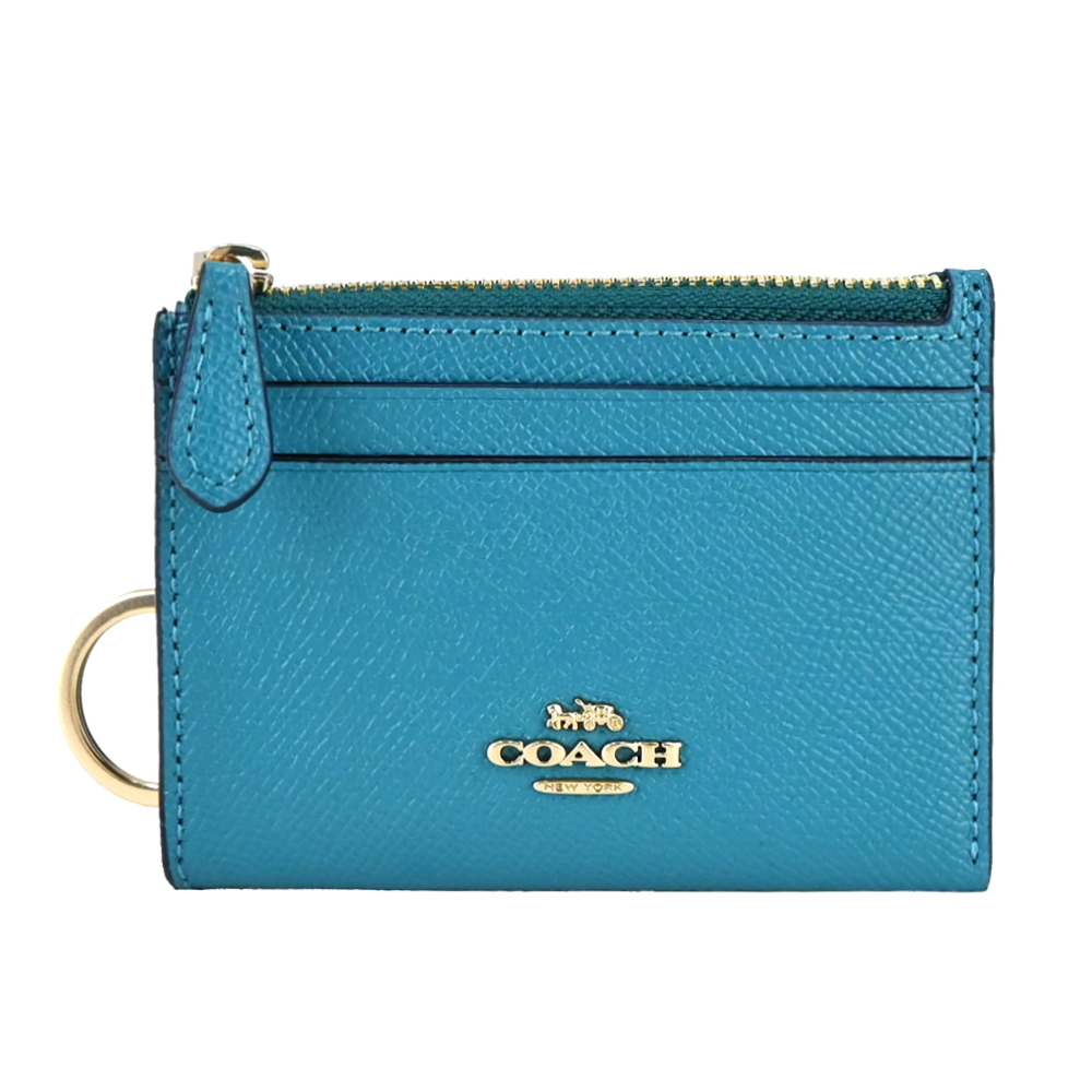 COACH 立體馬車LOGO防刮皮革卡夾鑰匙零錢包(湖水綠)