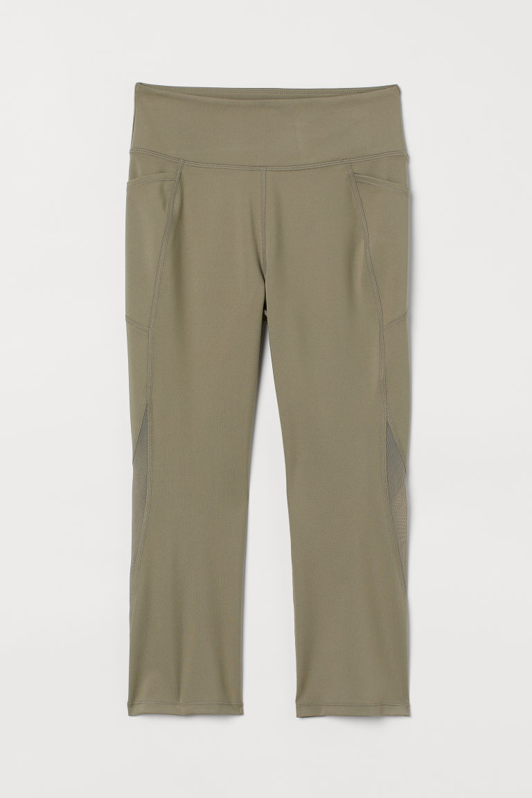 H & M - 網紗細節緊身運動褲 - 綠色