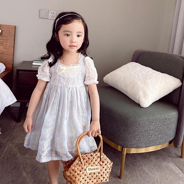 女童夏裝氣質款短袖蕾絲花朵高腰時尚公主禮服裙2021韓版新款童裝 幸福第一站