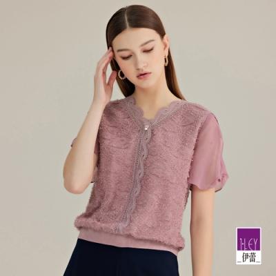 ILEY伊蕾 華麗織蔥羽毛紗雪紡拼接上衣(淺紫)1212061107