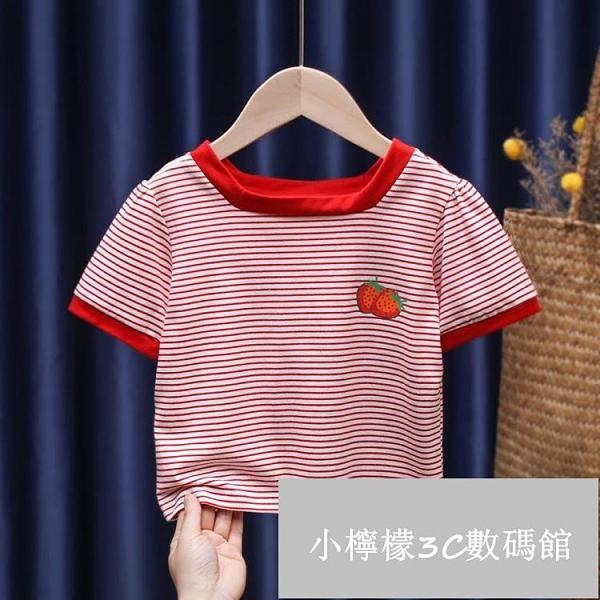 女童條紋短袖T恤兒童寶寶時尚小方領柔軟舒適打底衫夏款【小檸檬3C數碼館】