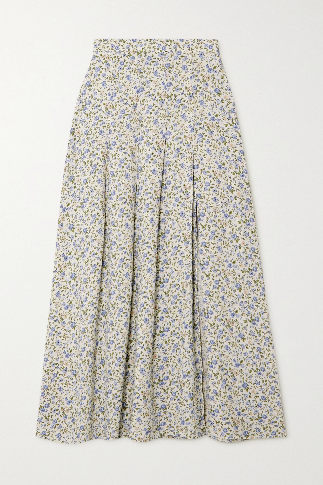 REFORMATION - + Net Sustain Maisie Pleated Floral-print Crepe Midi Skirt - White - US6