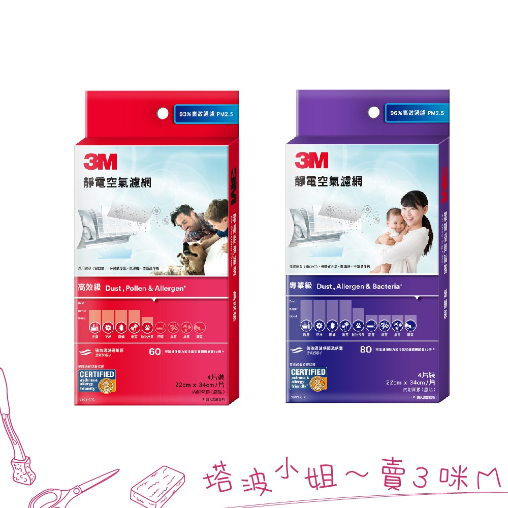 3M 專業級靜電空氣濾網 9809-CTC 高效級靜電空氣濾網 9808-CTC 冷氣濾網 4片裝 適用冷氣/清淨