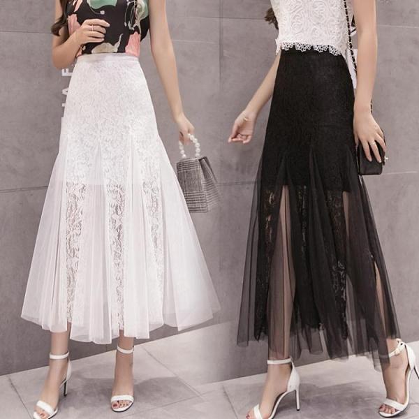 網紗裙半身裙女2021年春夏季新款高腰蕾絲包臀顯瘦百摺裙a字長裙 小天使 618