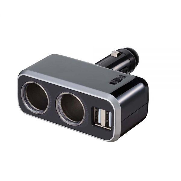 日本NAPOLEX 4.8A雙USB+2孔直插90度可調點煙器鍍鉻電源插座擴充器 Fizz-991