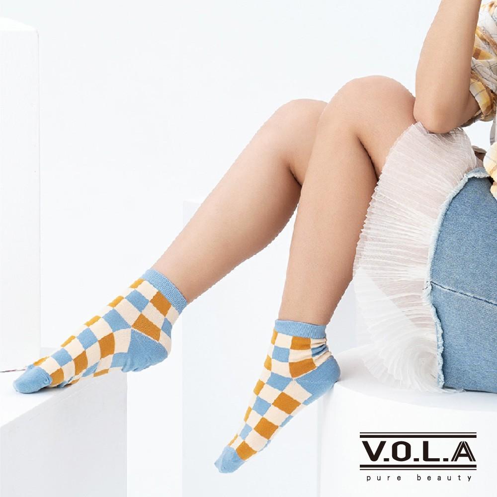 [VOLA]台灣製撞色棋盤格1/2短筒襪-金藍