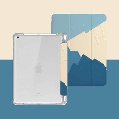 ZOYU原創 iPad Air 4 10.9吋 保護殼 透明氣囊殼 彩繪圖案款-復古油畫青藍色(三折式/軟殼/內置筆槽/可吸附筆)