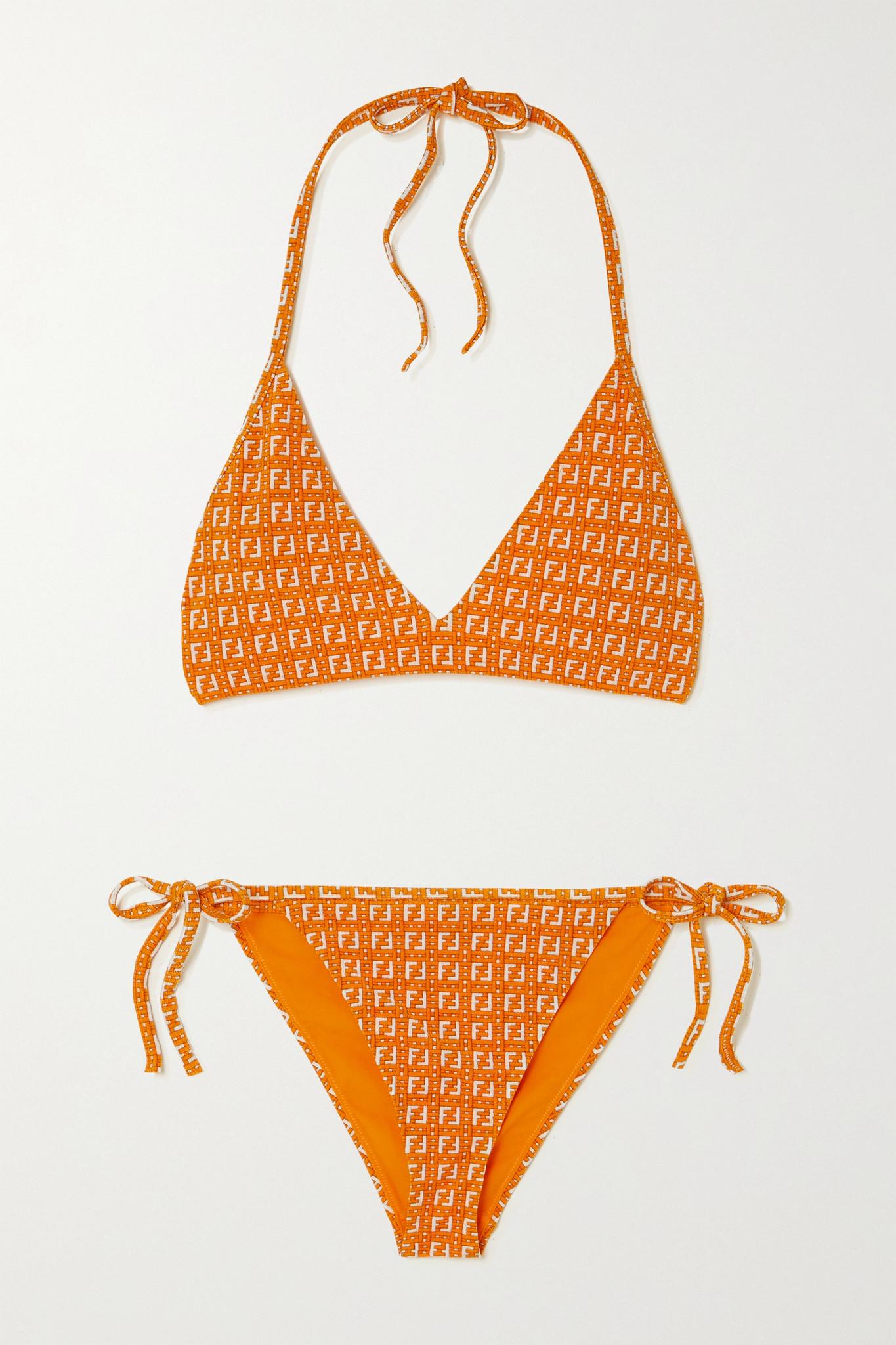 FENDI - Stretch-jacquard Halterneck Bikini - Orange - IT42