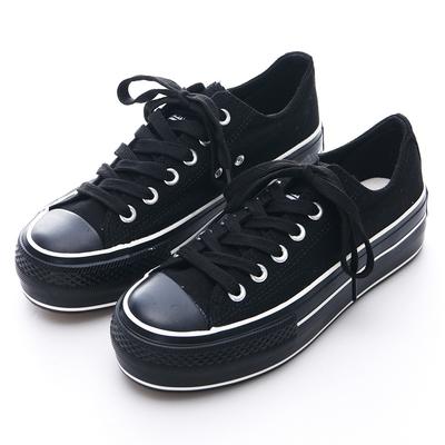 Camille's 韓國空運-丹寧布綁帶厚底帆布鞋-黑色