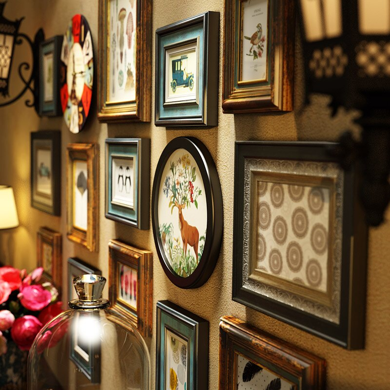 創意照片墻 實木照片墻裝飾客廳美式裝飾畫免打孔現代風格相片墻輕奢復古做舊