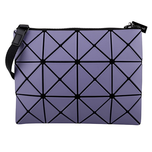 BAOBAO-透光幾何方格3x4斜背扁包/藍紫X薰衣紫