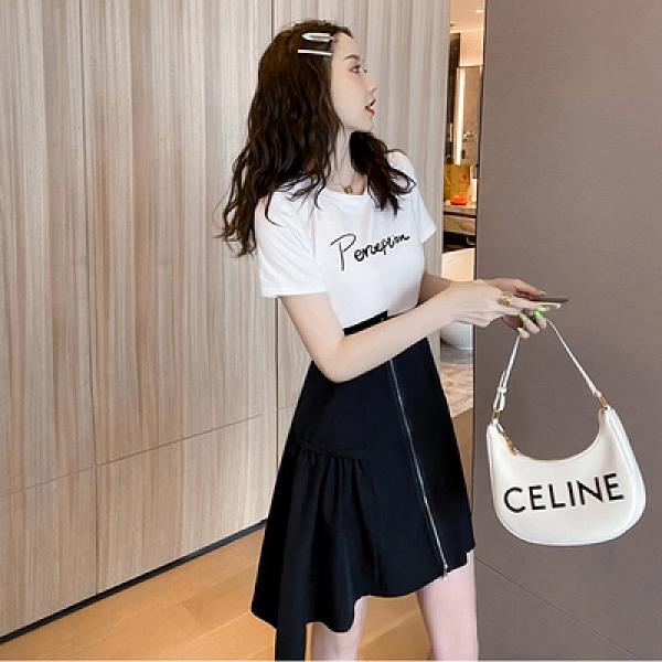 洋裝~5062#女夏新款法式拼接荷葉邊裙設計感收腰顯瘦連衣裙T235-D胖妹大碼女裝