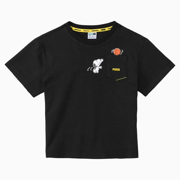 【現貨】PUMA x PEANUTS 童裝 大童 短袖 純棉 聯名 史奴比 口袋 休閒 黑【運動世界】59945801