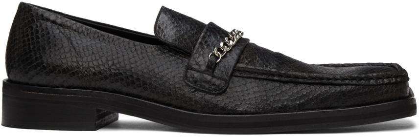 Martine Rose 黑色蛇纹方头乐福鞋