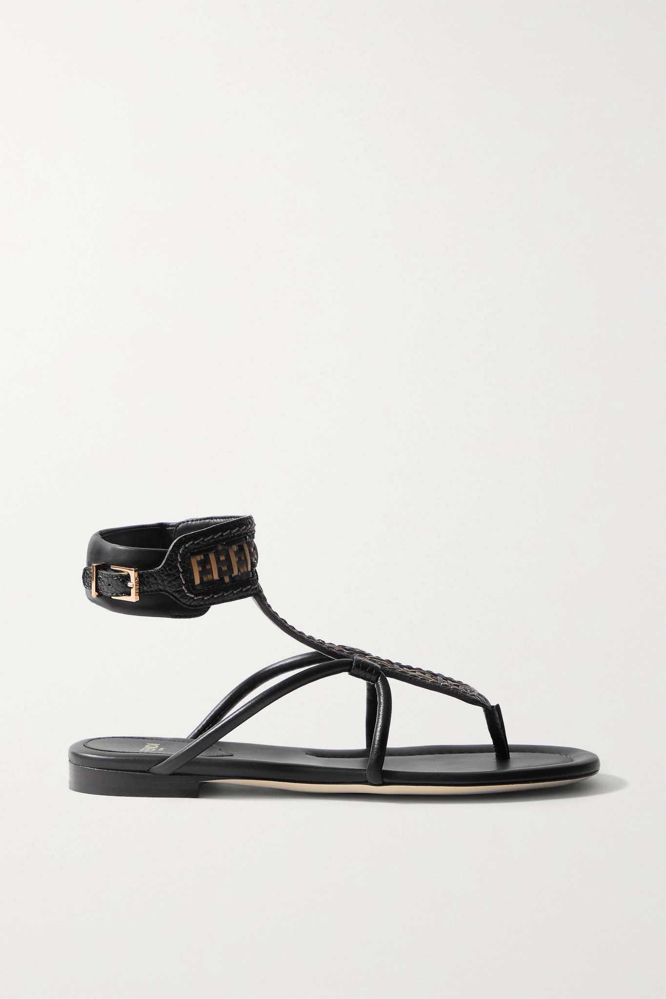 FENDI - Woven Leather Sandals - Brown - IT36