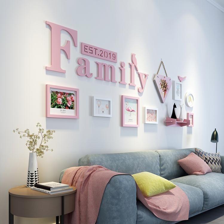 照片牆 客廳照片牆裝飾歐式簡約風格創意沙發背景牆family字母掛件相片牆t