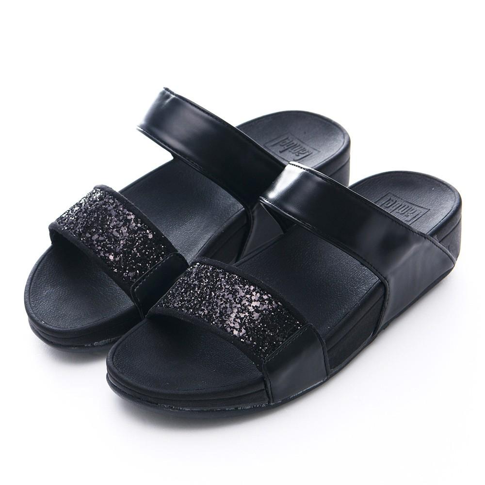 Camille's 韓國空運-正韓製-平行雙帶寬版亮片平底涼拖鞋-黑色