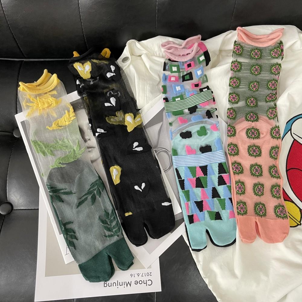 柳惠珠襪子 夏季薄水晶絲透明卷邊襪 愛心樹叶花朵文藝個性日系二趾襪分趾襪