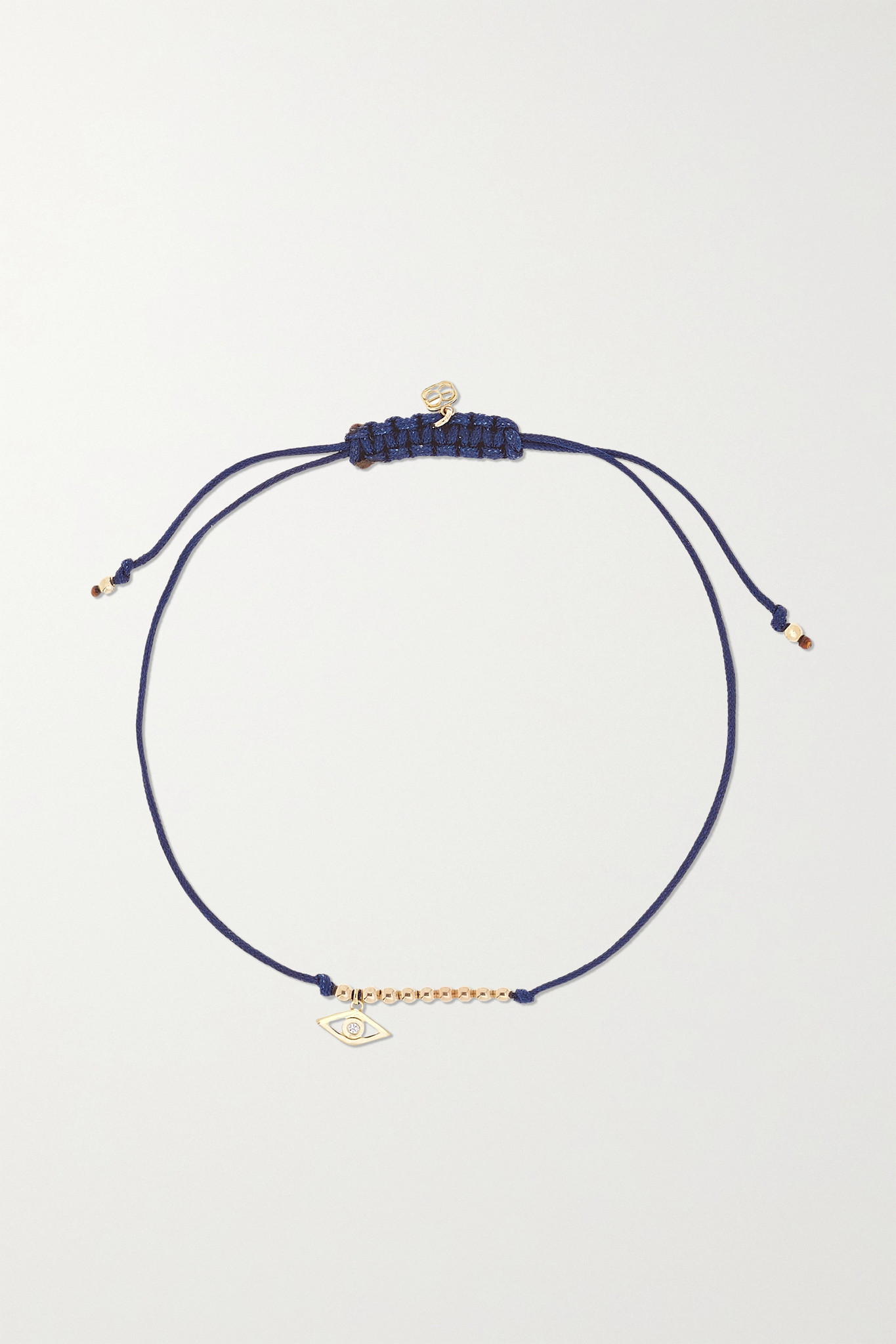 SYDNEY EVAN - Evil Eye 14-karat Gold, Cord And Diamond Bracelet - one size