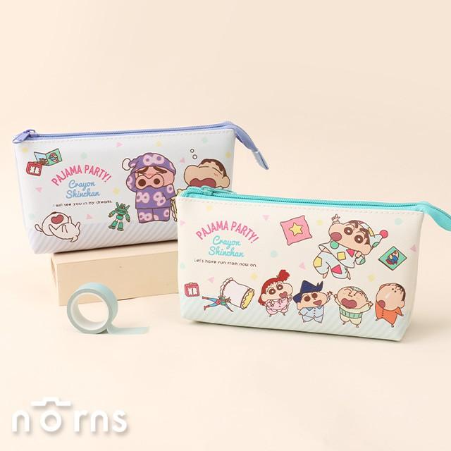 日貨蠟筆小新雙隔層皮質筆袋 船型- Norns 日本正版授權 Crayon Shin Chan 雙拉鍊文具收納袋