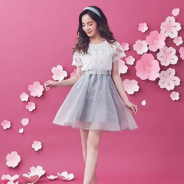 鉤花蕾絲套裝 上衣+裙子