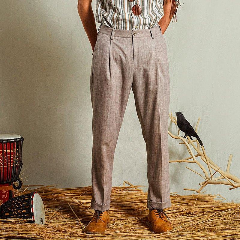 SOARIN獨立復古微彈薄款褶口商務西裝褲 - 灰紫色九分 (212F427)