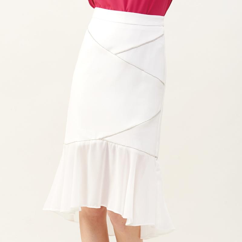 HS 線紗魚尾裙 簡約白