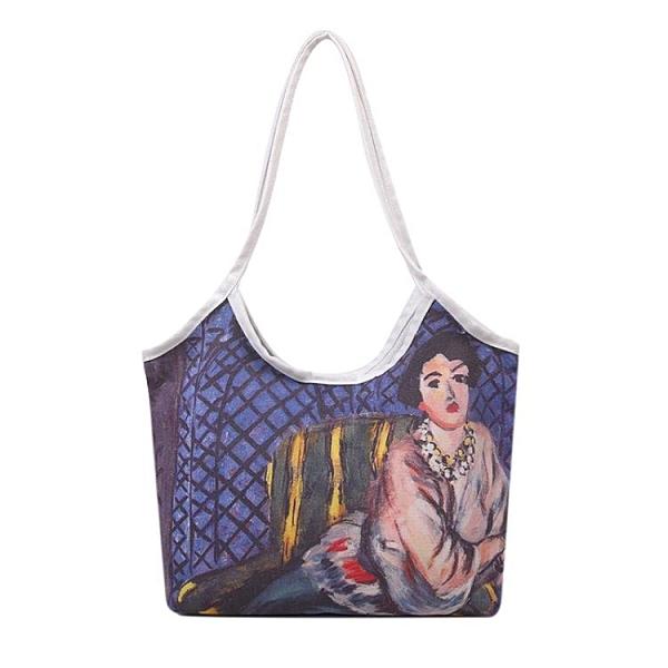 油畫包 油畫包2021春夏新款潮單肩大容量背包包女手提帆布買菜盒飯托特包 小衣裡