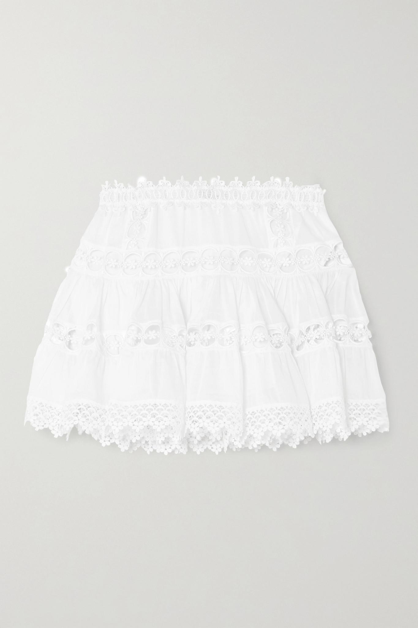 CHARO RUIZ - Greta Crocheted Lace-paneled Cotton-blend Mini Skirt - White - large