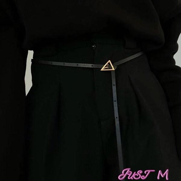 腰帶真皮細腰帶女裝飾西裝配連衣裙子襯衫收腰時尚百搭黑色小皮帶夏季 JUST M