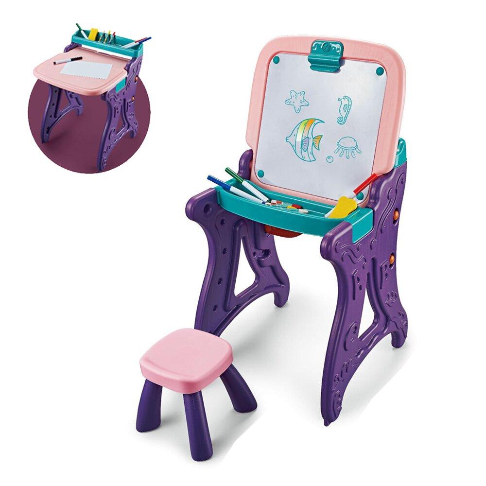 【福利品】【我是乾媽】二合一學習繪畫板桌椅組-櫻花粉(商品完整/外盒瑕疵)