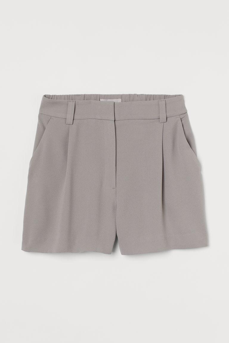H & M - 抓褶短褲 - 褐色