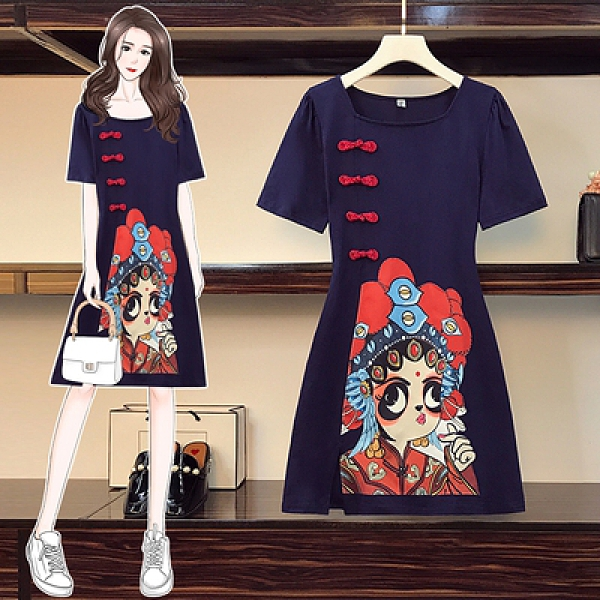 洋裝 大碼連身裙胖mm復古印花改良日常旗袍中長款大碼連身裙3F003-C.依品國際