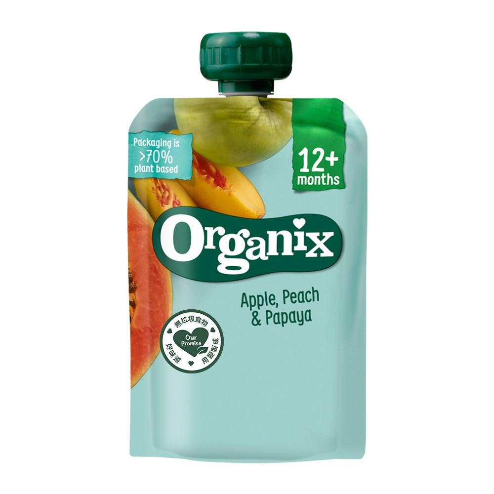 Organix 水果纖泥-蘋果蜜桃木瓜12m+ 100g Babybio官方直營店