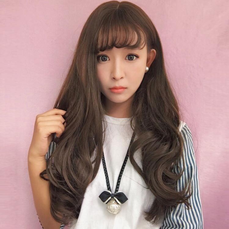 長假髮 韓國女士假髮空氣薄劉海長捲髮大波浪假髮逼真蓬鬆時尚假髮套