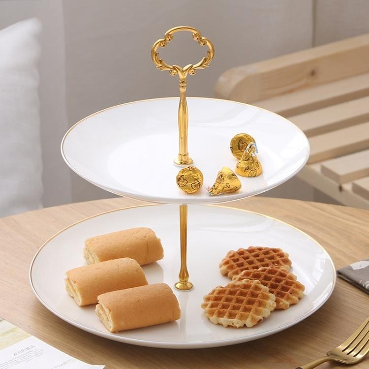 水果盤 陶瓷三層水果盤子籃創意客廳雙層下午茶點心架蛋糕托盤糕點甜品台