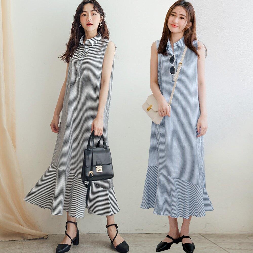 MIUSTAR 襯衫領半排釦直條魚尾棉麻洋裝(共2色)洋裝 長洋裝 0427 預購【NJ1065】